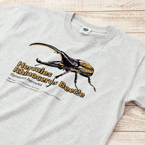 Tシャツ ヘラクレスオオカブト ライトグレー S/M/Lサイズ
