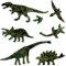 ティラノサウルス、トリケラトプス、フタバスズキリュウ、ステゴサウルス、プテラノドン、ブラキオサウルス、ティラノサウルス足跡形