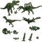 ティラノサウルス、スピノサウルス、ディロフォサウルス、モササウルス、シーラカンス、アンモナイト(大小)、ベレムナイト、スキポノセラス、ワキノイクチス、貝、ティラノサウルスの足跡
