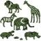 ライオン、アミメキリン、アジアゾウ、グラントシマウマ、カバ、ミナミシロサイ
