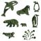 ジェンツーペンギン、エンペラーペンギン、ホッキョクグマ親、ホッキョクグマ子、シャチ、セイウチ、ゴマフアザラシ、色々な大きさの水玉の形