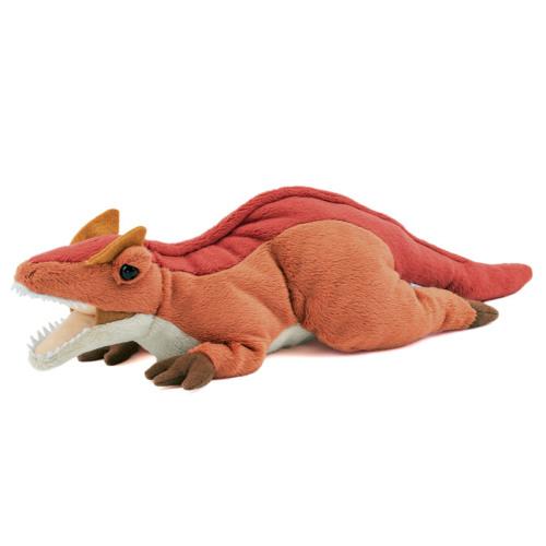 両目の上に角状の突起、前足3本指に大きなかぎ爪が特徴の二足歩行の大型肉食恐竜、アロサウルスぬいぐるみ